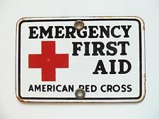 Vintage First Aid Porcelain Sign Tag Topper American Red Cross Emergency