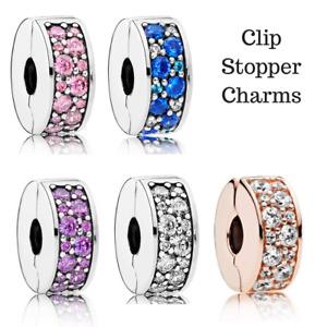 925 Silver Sterling Shining Elegance CZ Stone slim Spacer Stopper Clip Charm