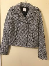 GAP Women Cropped Moto Tweed Black And White Jacket Size S Small