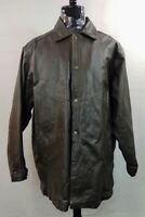 John Wayne Black Leather Long Jacket Men's XXL 2XL By Wayne Enterprises