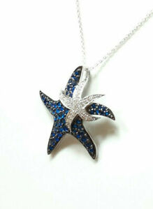 1.50 Ct Round Cut Blue Sapphire & Diamond Starfish Pendant 14k White Gold Over