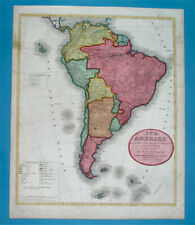 1837 rare XXL ORIGINAL MAP SOUTH AMERICA PATAGONIA ARGENTINA CHILE PERU BOLIVIA