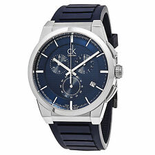 Calvin Klein Men's Dart Blue Dial Rubber Strap Swiss Quartz Date Watch K2S371VN