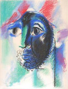 Roger SOMVILLE Original Signed Pastel drawing Tête d'Arlequin 1970