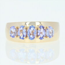Tanzanite Five-Stone Ring - 14k Yellow Gold Band Oval Brilliant 1.10ctw
