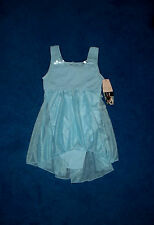 GIRLS LIGHT BLUE SILVER BLING DANSKIN DANCE LEOTARD OUTFIT SIZE 7 - 8 MEDIUM NWT
