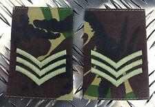 Genuine British Army COMBAT DRESS SERGEANT Rank Slides / Epaulettes - Brand NEW