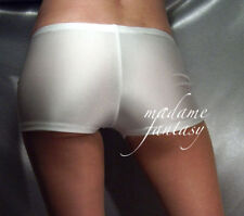 MADAME FANTASY SEXY SPANDEX SHINY MICRO SHORTS HOT PANTS WHITE XS-XXXL