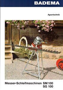 BADEMA Messer-Schleifmaschinen SM 100, SG100 08/94 Agrar-Prospekt 2 S #619