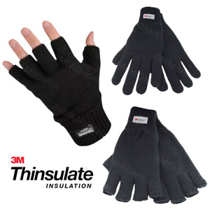 Mens Ladies THERMAL 3M THINSULATE FULL FINGER & FINGERLESS GLOVES Knitted Wooly