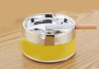 D02 Yellow Mini Portable Outdoor Travel Stainless Steel Circle Ashtray 4.8CM