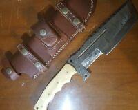 Handmade Damascus Steel Tracker Knife Horn Handle