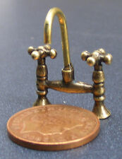 1:12 Scale Antiqued Brass Mixer Taps Tumdee Dolls House Miniature Accessory 668