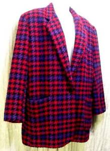 VINTAGE 1980s Wool Blend LOUD BULKY Loose KNIT Purple Black LIMITED Blazer! M