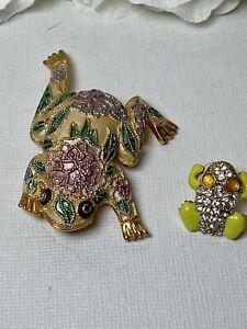 Set Of Two FROG Rose Enamel Goldstone Rhinestone Bling Ornate Pins