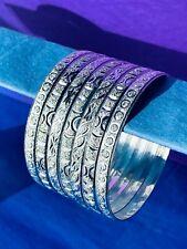 Cut Silver Layered Semanario 7 Bangles Bracelets Plata Laminada Banada 6.5mm