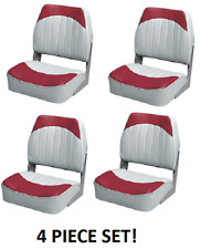 Folding Boat Seats 4-PC Boating Fishing Pontoon Set RED/GREY Embossed Vinyl Wise
