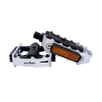 New Wellgo Silver LU-C25 Ball Bearing Mountain Road City Pedals with Reflector