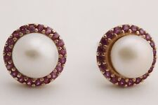 Turkish Handmade Jewelry Round Pearl Pink Ruby 925 Sterling Silver Stud Earrings