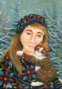 ACEO original miniature art painting figure animal pet cat winter snow seasonal