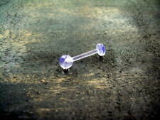 """12g 9/16"""" Clear Invisible Transparent Tongue Barbell Retainer Screw On Ball"""