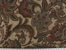 Drapery Upholstery Fabric Chenille Paisley Floral - Burgundy, Red, Ivory on Tan