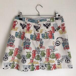 "Vintage Print Cotton Mini Skirt 27"" Waist UK 8"