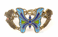 Vintage Bronze Butterfly Blue Red Insect Animal Zoo Statement Jewellery Bracelet
