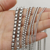 Wholesale Fashion 1/2/3/5mm Stainless Steel Silver Rolo Box Chain Bulk Finding