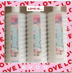 3 X Avon Bubble Bath Aloha Monoi 500ml ~ Nice Sweet Fragrance ~ Free Postage