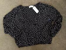 Hollister Wrap Crop Top Black And White dot brand new medium