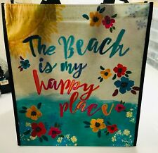 "Natural Life recycled plastic bag.14""x12.5 Gift Tote Bag BEACH IS MY HAPPY PLACE"
