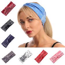 US Womens Yoga Boho Headband Twist Cross Knot Elastic Hair Band Turban Hairband
