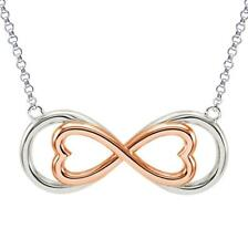 "Dual Infinity Heart Necklace .925 Sterling Silver 18"" Length Rose Gold Plated NR"