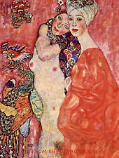"Nude Two Women Friends 8.5x11"" Photo Print Painting Gustav Klimt Naked  Fine Art"