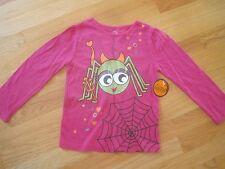 Toddler girl HALLOWEEN GLITTERY GREEN SPIDER & WEB HOT PINK SHIRT TOP NWT 4t