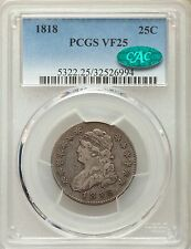 1818 Capped Bust PCGS CAC VF25 Large Size Silver Quarter Very Fine Type Coin