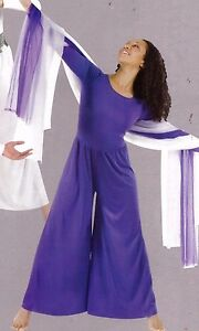 Body Wrappers style 569 Long Sleeve Jumpsuit Purple Body Wrappers wide leg adult