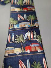 TALBOTS Kids 100% Silk Navy Boy's Tie with Surfboards Palm Trees Beach Theme