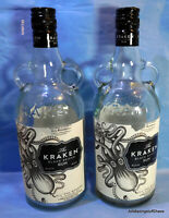 The Kraken Black Spiced Rum 750ml EMPTY 2 Liquor Bottle 2 w/ Lids Clear Glass