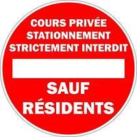 Autocollant sticker portail garage voie privee stationnement interdit panneau