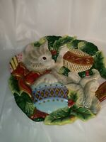 Fitz and Floyd Essentials Christmas Kitten/Cat Snack Plate Wall Decor