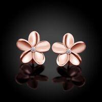 Women's Rose Gold Plated Crystal Rhinestone Small Flower Ear Stud Earrings Solid