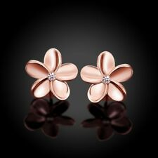 Women's Rose Gold Plated Crystal Rhinestone Small Flower Ear Stud Earrings Solid