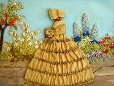 EXQUISITE VINTAGE HAND EMBROIDERED PANEL CRINOLINE LADY COTTAGE GARDEN FLOWERS