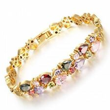 Cubic Zirconia Yellow Gold Plated Tennis Fashion Bracelets
