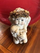 "Large 5"" Cast Dreamsicle Kneeling Holding Baby Lamb Signed Kristen 93"