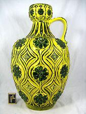 Stunning 70´s design Bay in rilievo CERAMICA POTTERY VASO 77 45 Dark Green & Yellow