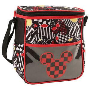 Diaper Bag Lunch Tote Small Disney Mickey Black Red Checker Head NWT