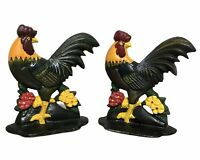 Cast Iron Rooster Chicken Farmhouse Animal Door Stop Farm Set of 2